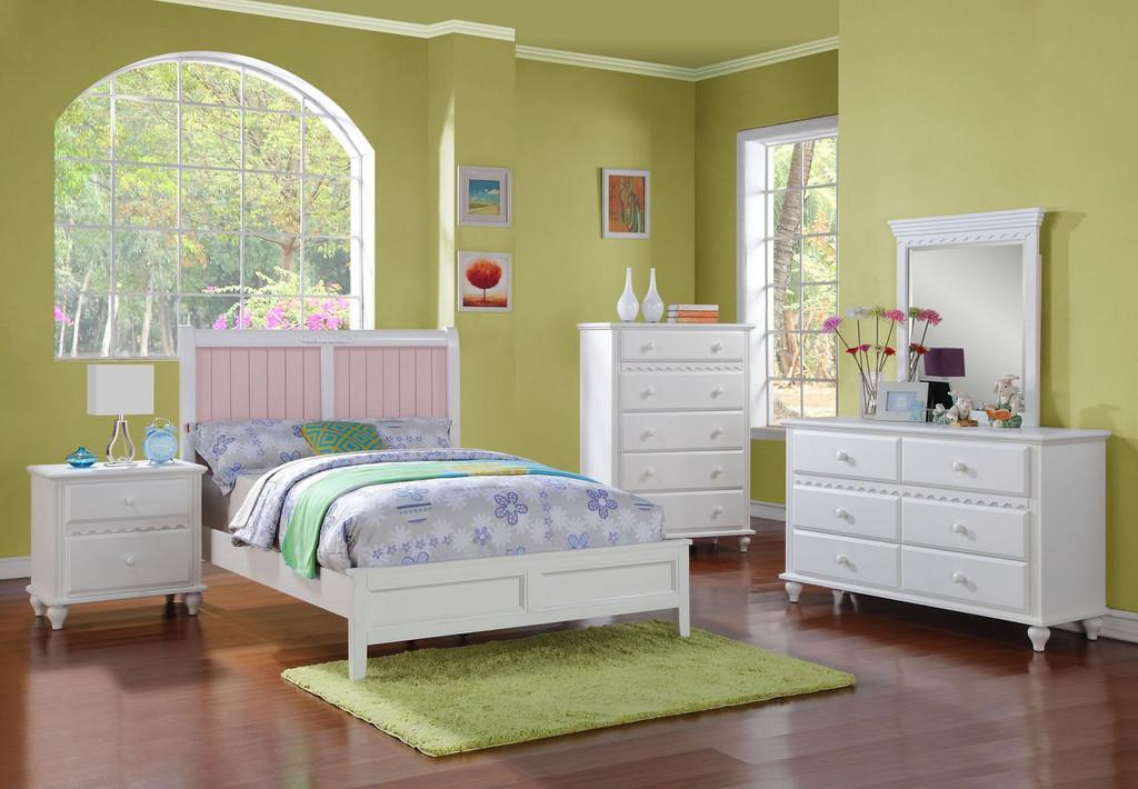 BED W. INTER CHANGE HB PANEL WHITE/PINK