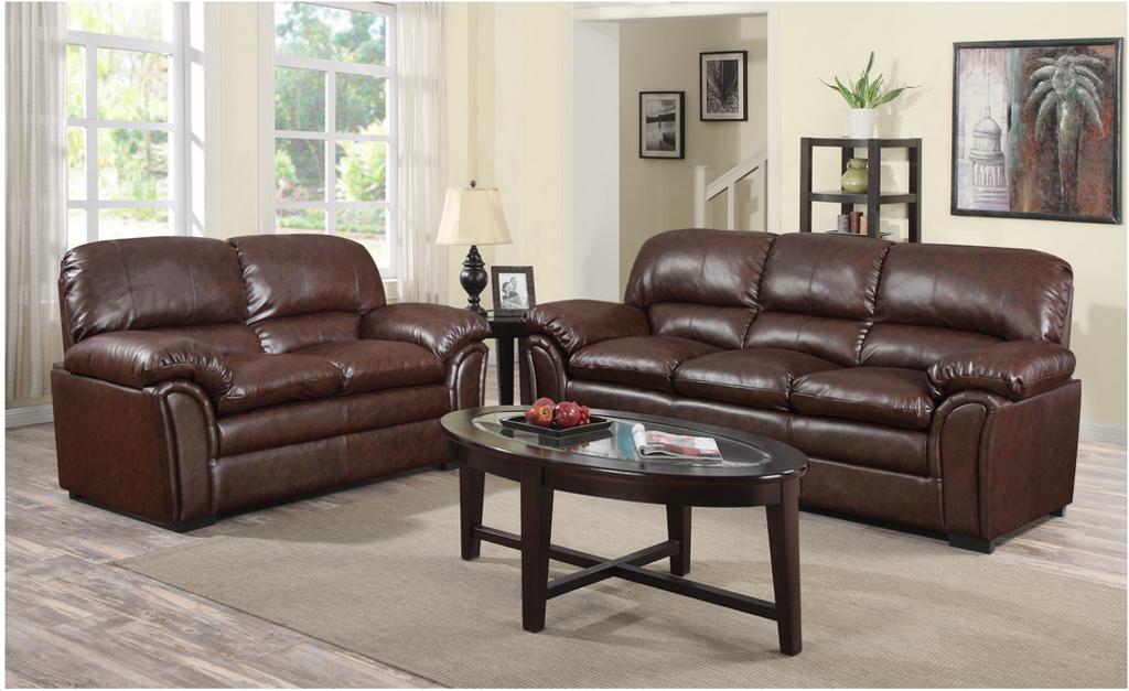 Washingtonu0027s Chocolate Bonded Leather Sofa And LoveSeat