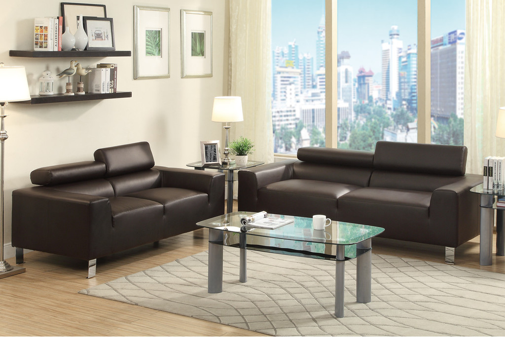 ESPRESSO 2 PCS SOFA AND LOVESEAT SET WITH ADJUSTABLE HEADREST