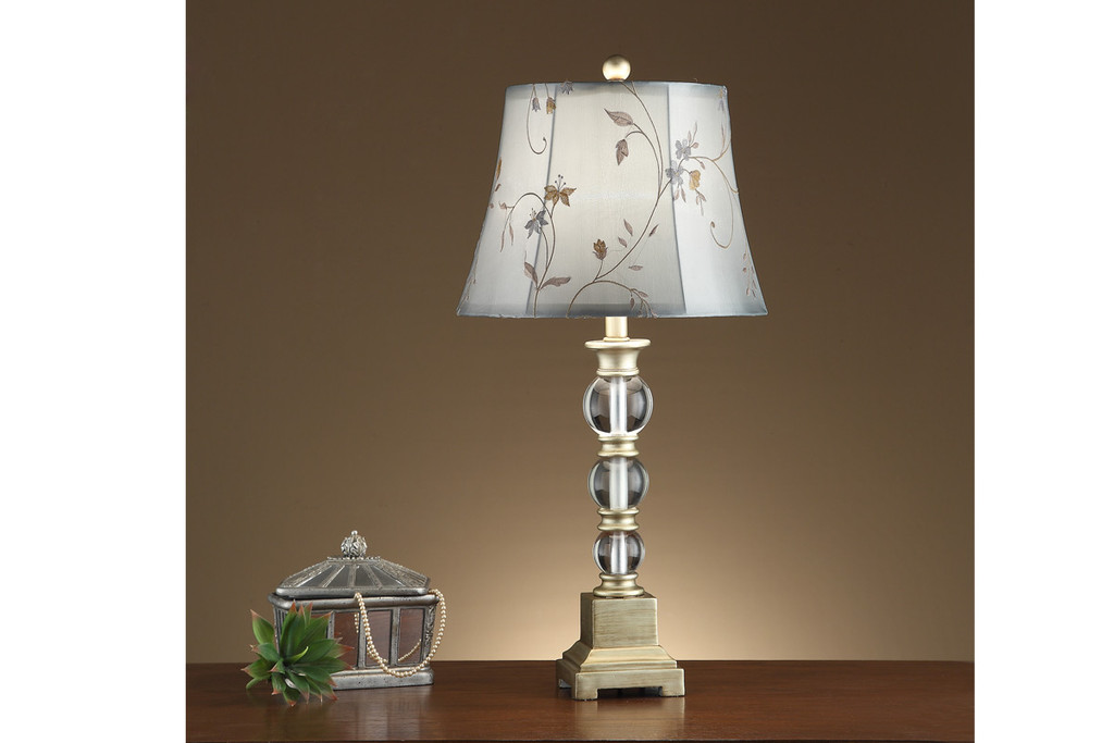 "GLASS BULB SHAPED BASE AND FLORAL ADORNED SHADE TABLE LAMP 29""H (2 LAMPS)"
