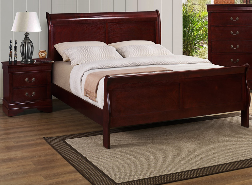 LP SLEIGH BED WITH MATTRESS AND BOXSPRING IN CHERRY