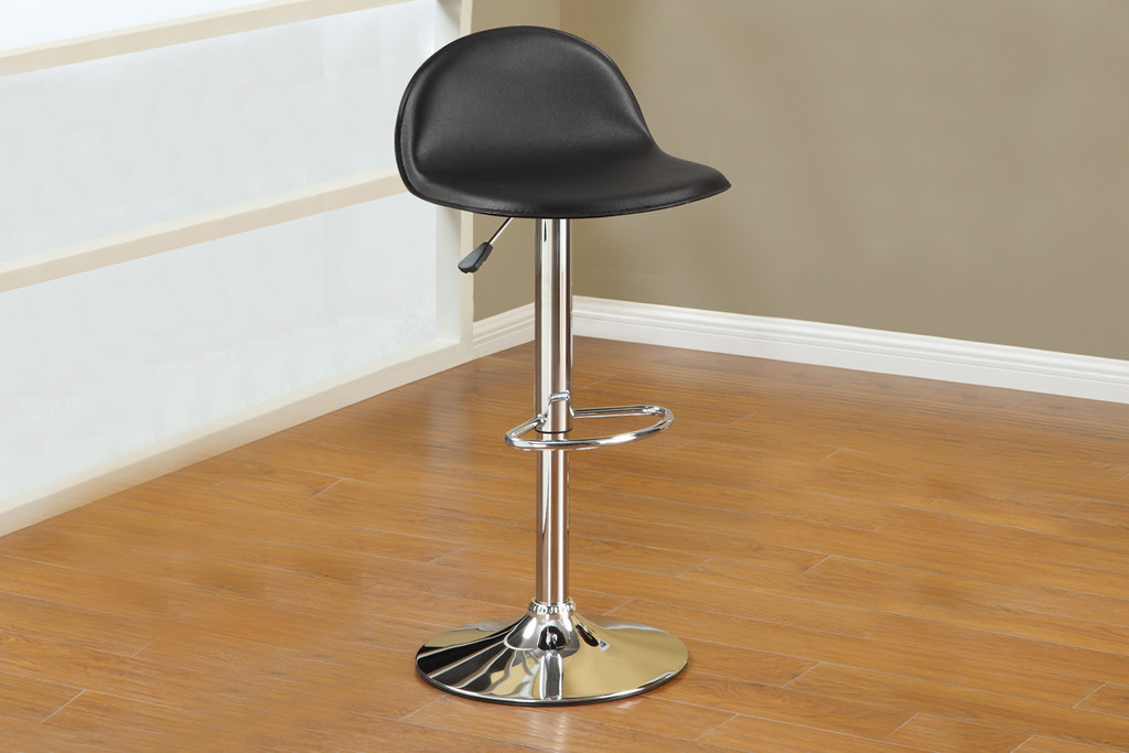2PC BLACK FAUX LEATHER SLEEK STYLE AIRLIFT BARSTOOL