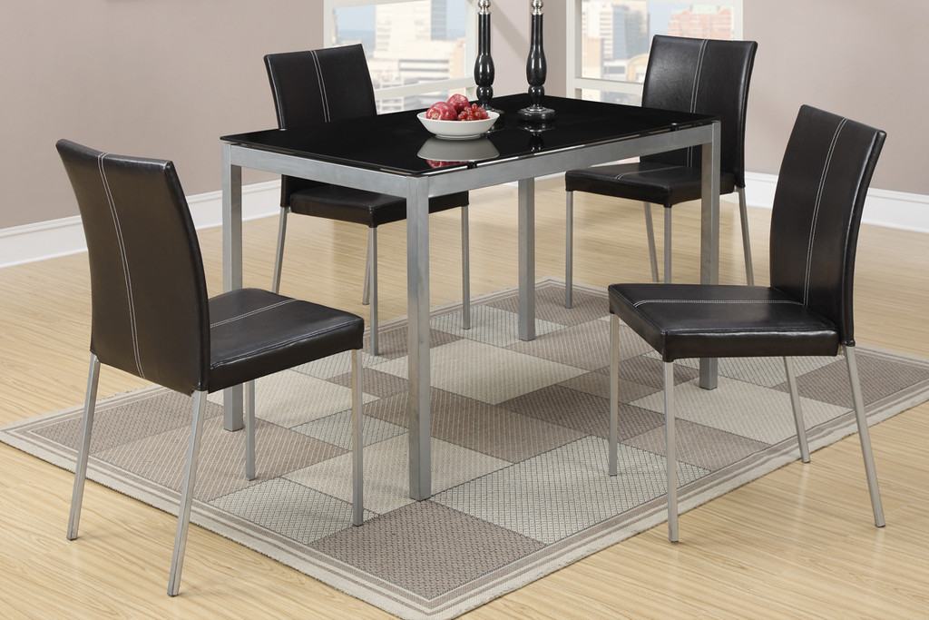 5-PIECE BLACK GLASS TABLE TOP DINING SET