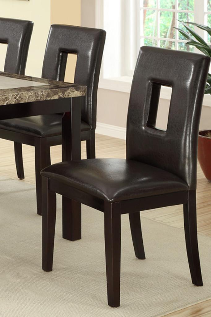 7PCS DARK BROWN MARBLE LOOK TABLE TOP DINING ROOM SET