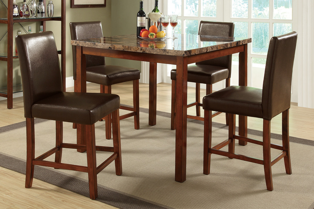 5-PIECES MARBLE FINISHED TOP BROWN FAUX LEATHER COUNTER HEIGHT SET