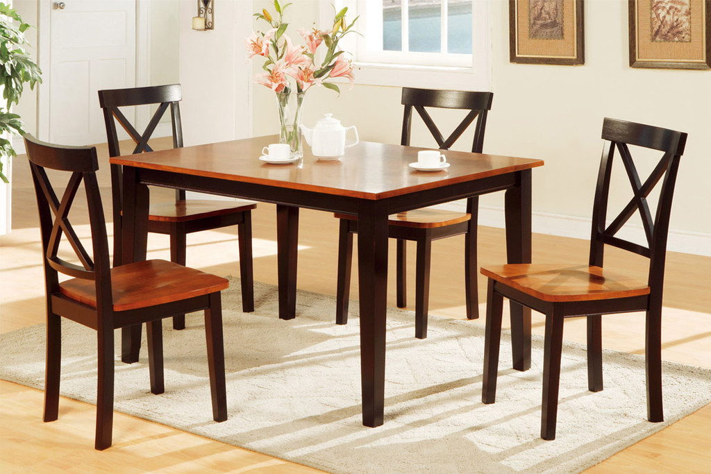 5-PCS CHERRY STAINED X DESIGN DINING ROOM SET