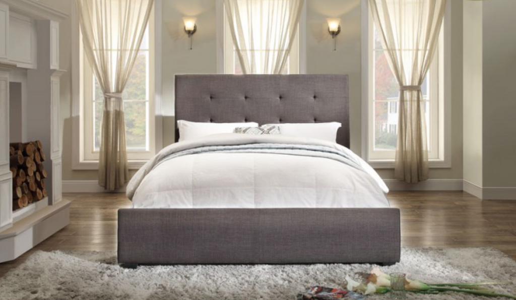 CADMUS TUFTED CHARCOAL BED (Low Profile Boxspring or Bunkie Board Required)