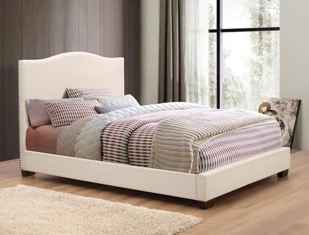 MARA UPHOLSTERED BEIGE BED - 5279