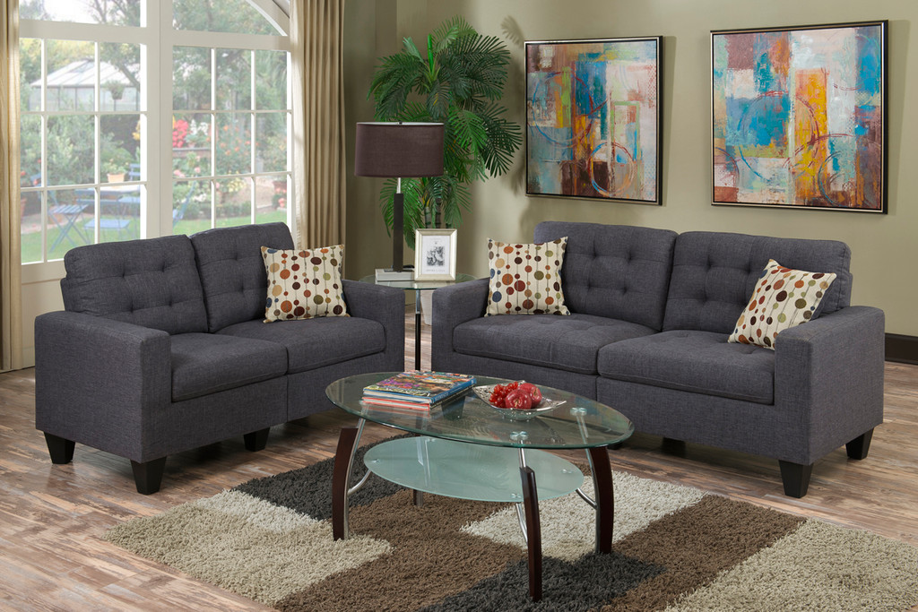 2-Pcs Sofa Set in Blue Grey