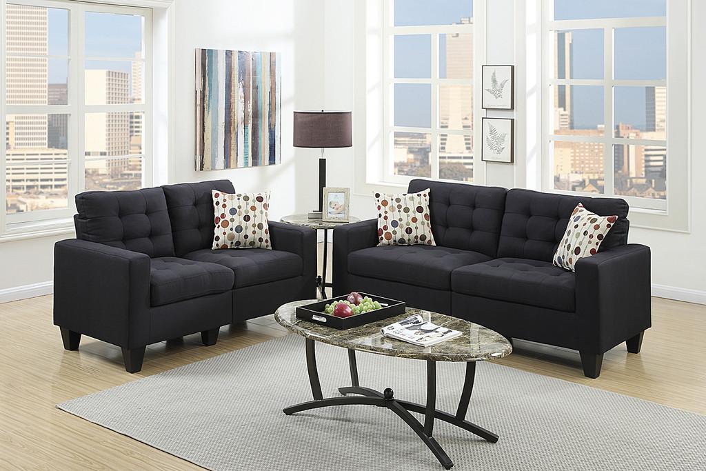 2-Pcs Sofa Set in Black Color