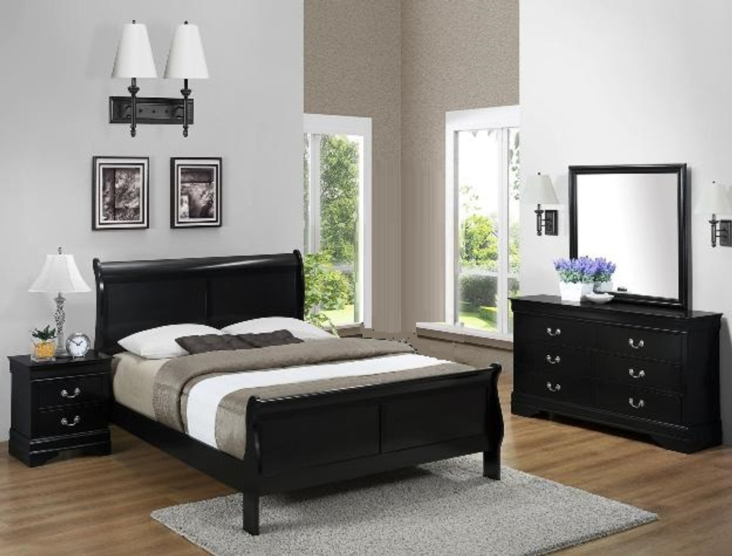 6PCS LOUIS PHILLIP BEDROOM SET IN BLACK