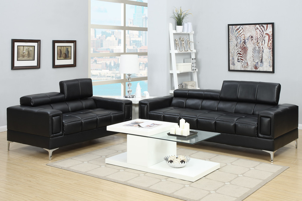 2PC MARC SOFA AND LOVESEAT  WITH ADJUSTABLE HEADREST IN BLACK
