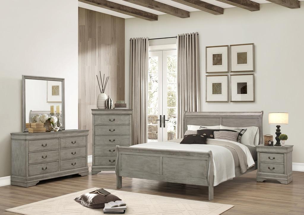 7PCS LOUIS PHILLIP BEDROOM SET IN GREY