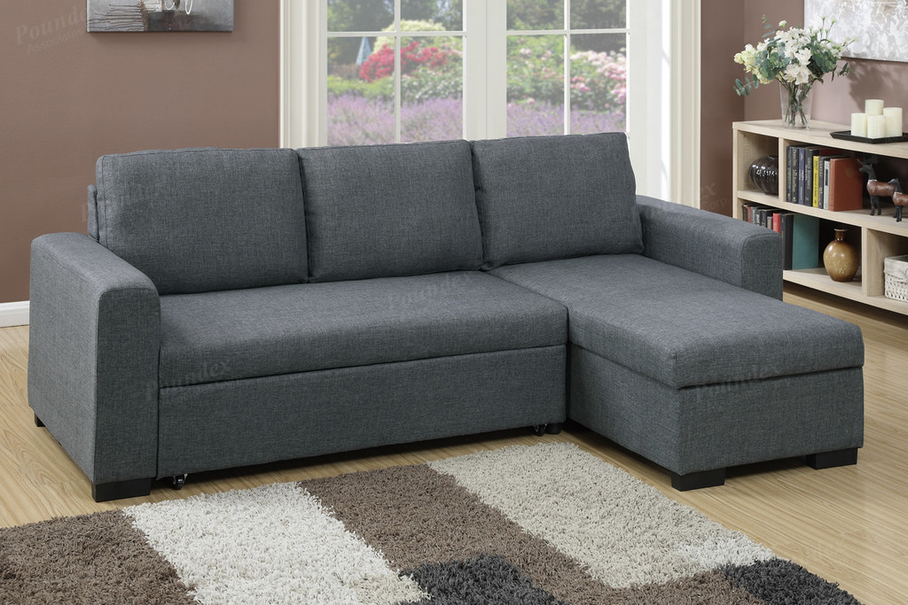 2PC CONVERTIBLE SECTIONAL w/PULL-OUT BED IN BLUE GREY LINEN