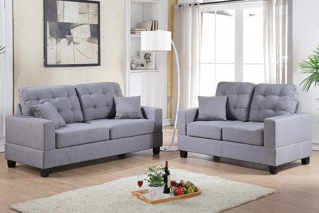 2PCS Sofa Set in Grey Linen with Four Accent Pillows