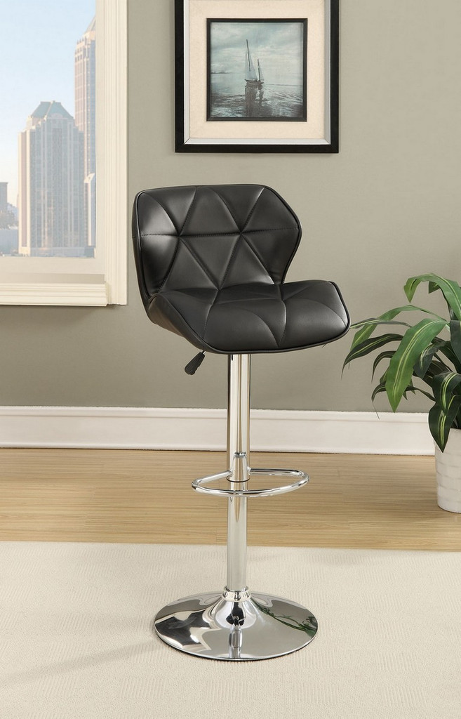 ADJUSTABLE 2 PIECES BAR STOOL WITH DIAMOND ACCENT STITCHING UPLHOLSTERED IN BLACK FAUX LEATHER