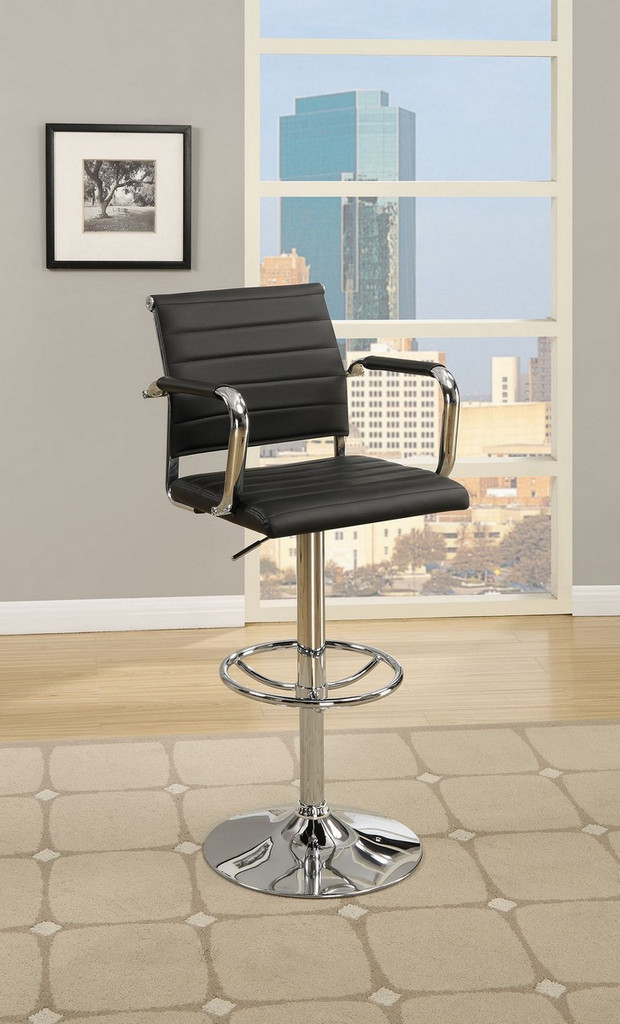 ADJUSTABLE 2 PIECES BAR STOOL WITH HORIZONTAL ACCENT STITCHING UPLHOLSTERED IN BLACK FAUX LEATHER