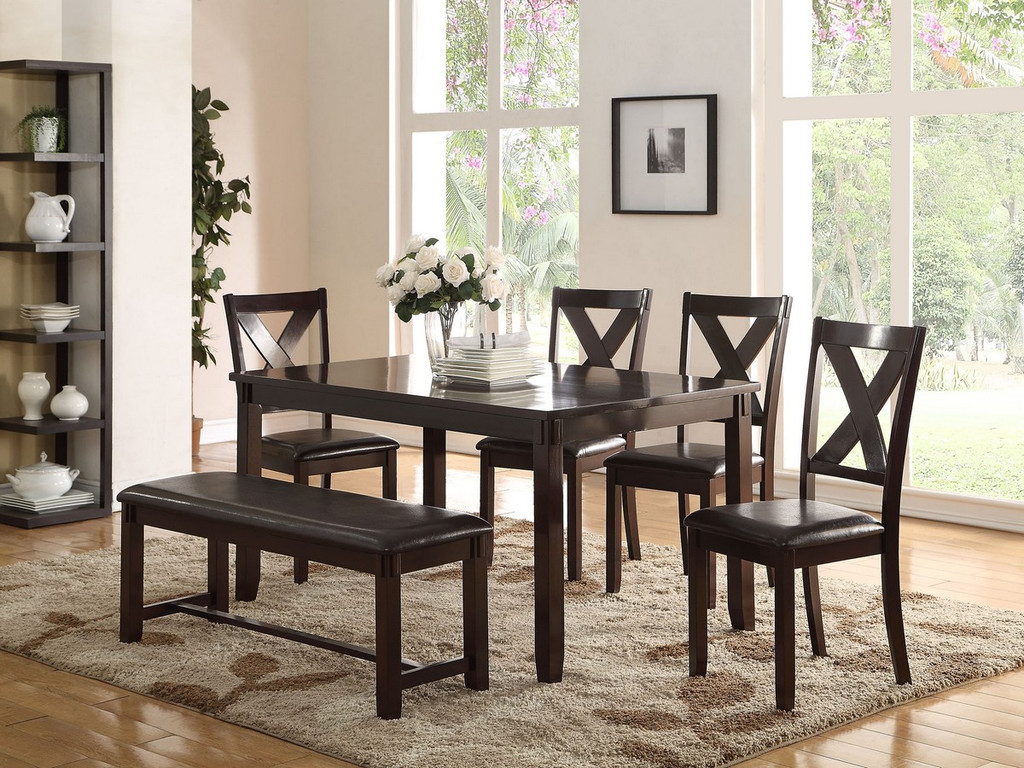 6 PCS ESPRESSO FINISH WOOD DINING TABLE SET WITH PADDED SEAT CHAIRS AND BENCH