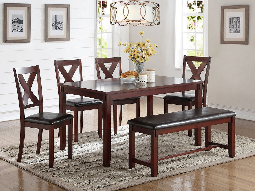 6 PCS CHERRY FINISH WOOD DINING TABLE SET WITH PADDED SEAT CHAIRS AND BENCH