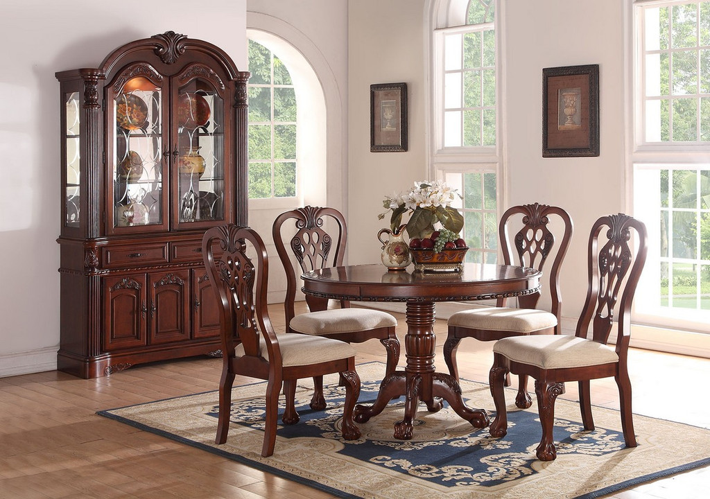 5PCS ROUND DINING TABLE SET IN DARK CHERRY WOOD FINISH