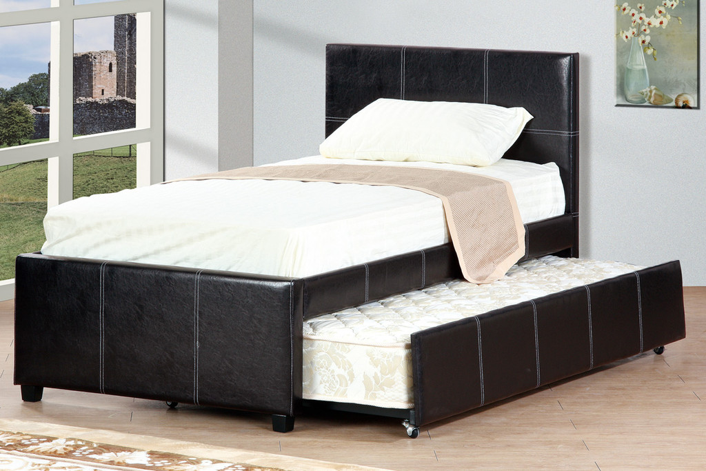 MODERN SLATED ESPRESSO TWIN/FULL BED WITH TRUNDLE