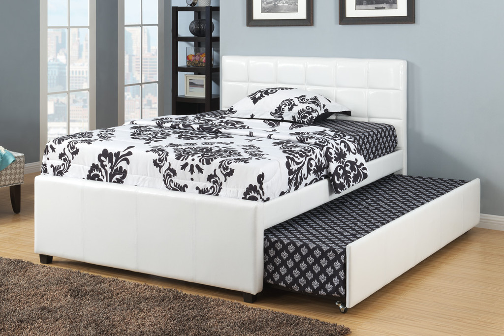 TWIN/FULL BED WITH TRUNDLE UPHOLSTERED IN WHITE CREAM