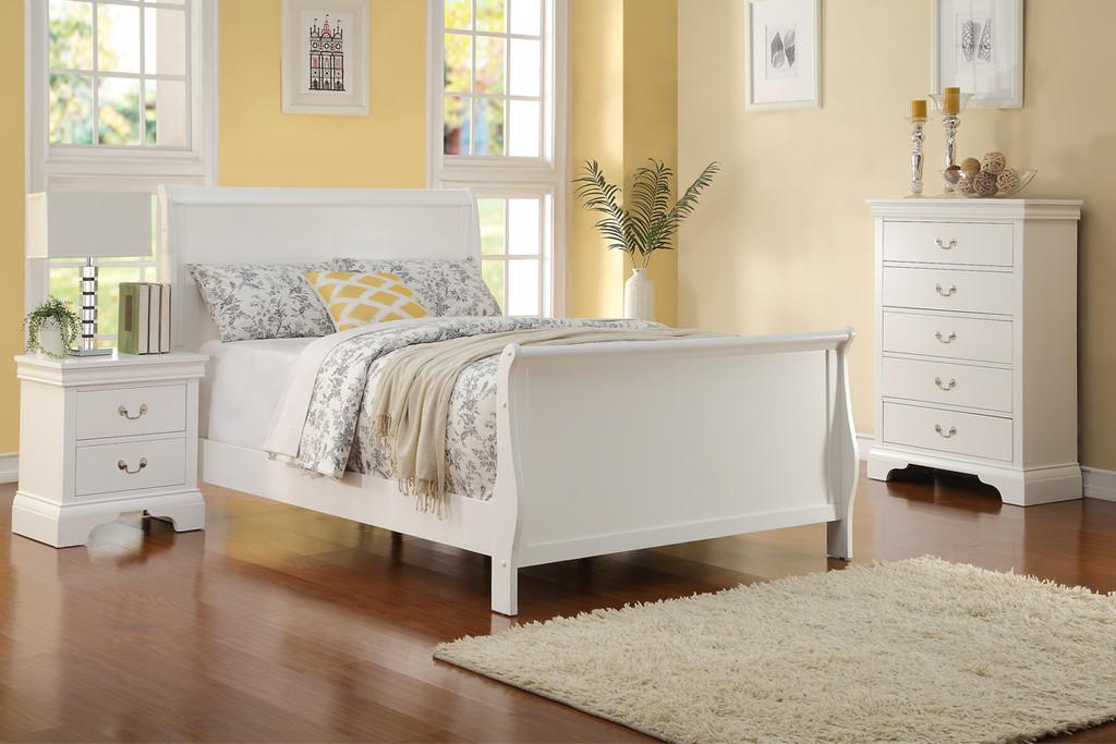 SLEIGH DESIGN WHITE TWIN/FULL BED FRAME