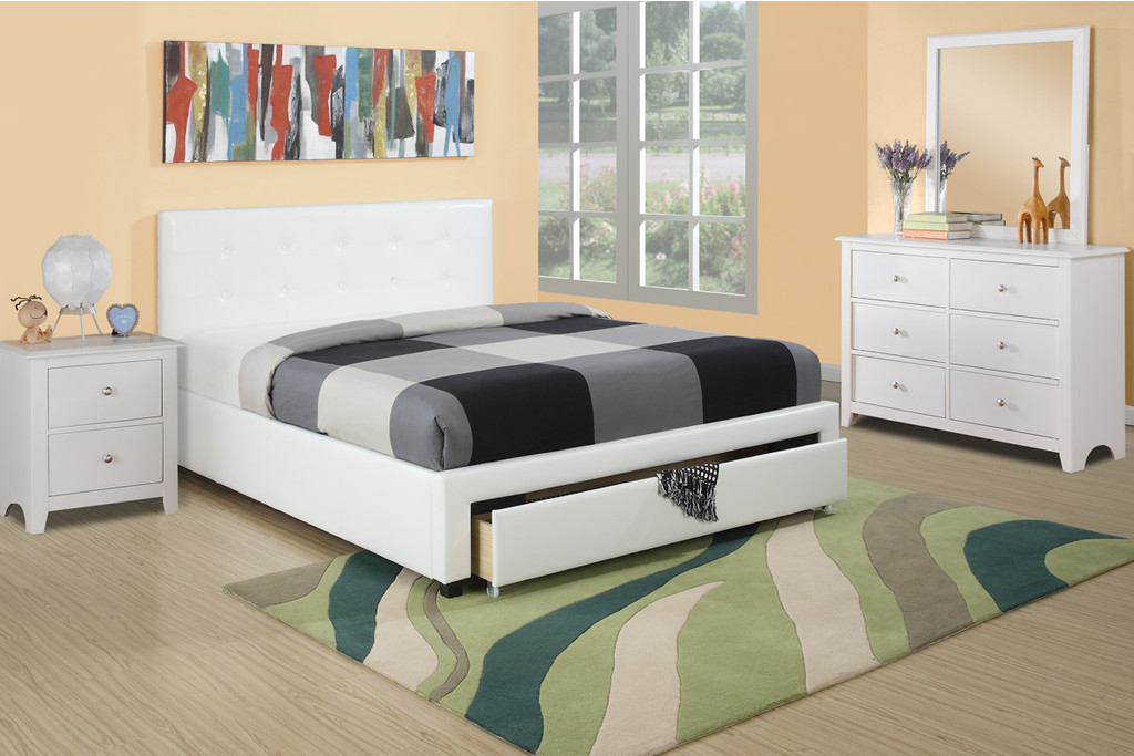 BEDROOM PLATFORM WITH UNDERDRAWER UPLHOLSTERED IN WHITE FAUX LEATHER