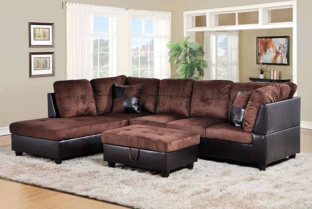 2 PCS Alexander BROWN SECTIONAL WITH ACCENT PILLOWS (RIGHT FACING SOFA) - F107A