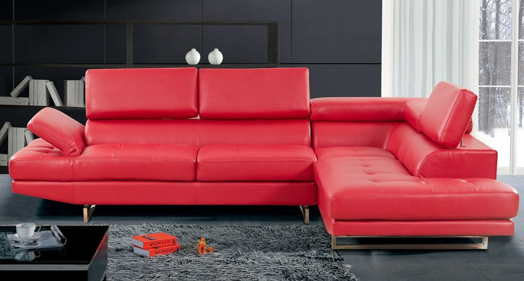 2 PCS BENJAMIN RED SECTIONAL WITH ACCENT PILLOWS (LEFT FACING SOFA) - F18R