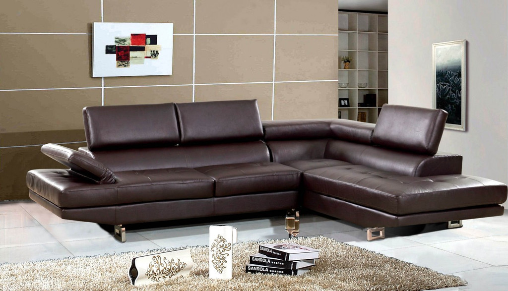 2 PCS JOSE BROWN SECTIONAL WITH ACCENT PILLOWS (LEFT FACING SOFA) - F18BR