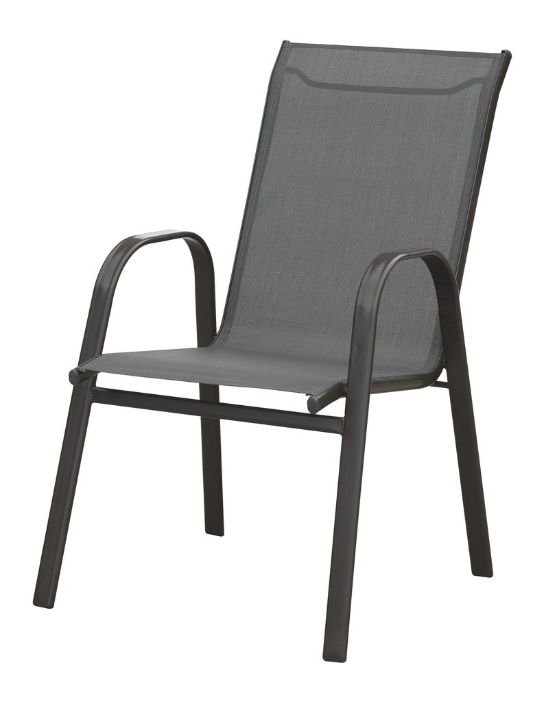 OUTDOOR STACKABLE CHAIR IN BRONZE STEEL FRAME FINISH