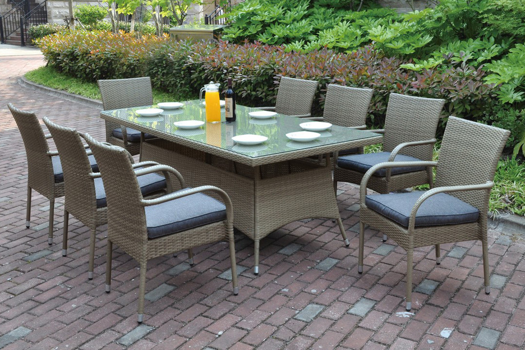 7PCS OUTDOOR PATIO TABLE SET TRIMMED IN BEAUTIFUL AND DURABLE RESIN WICKER AND AN ALUMINUM FRAME