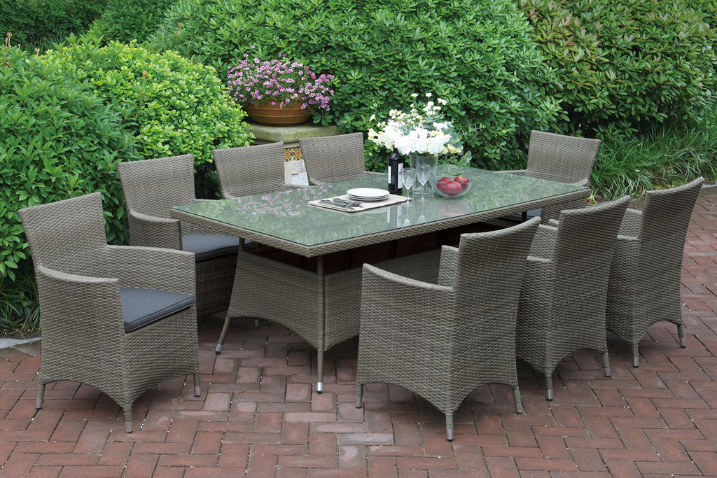 7PCS OUTDOOR PATIO TABLE SET TRIMMED IN BEAUTIFUL AND DURABLE TANNED RESIN WICKER AND AN ALUMINUM FRAME