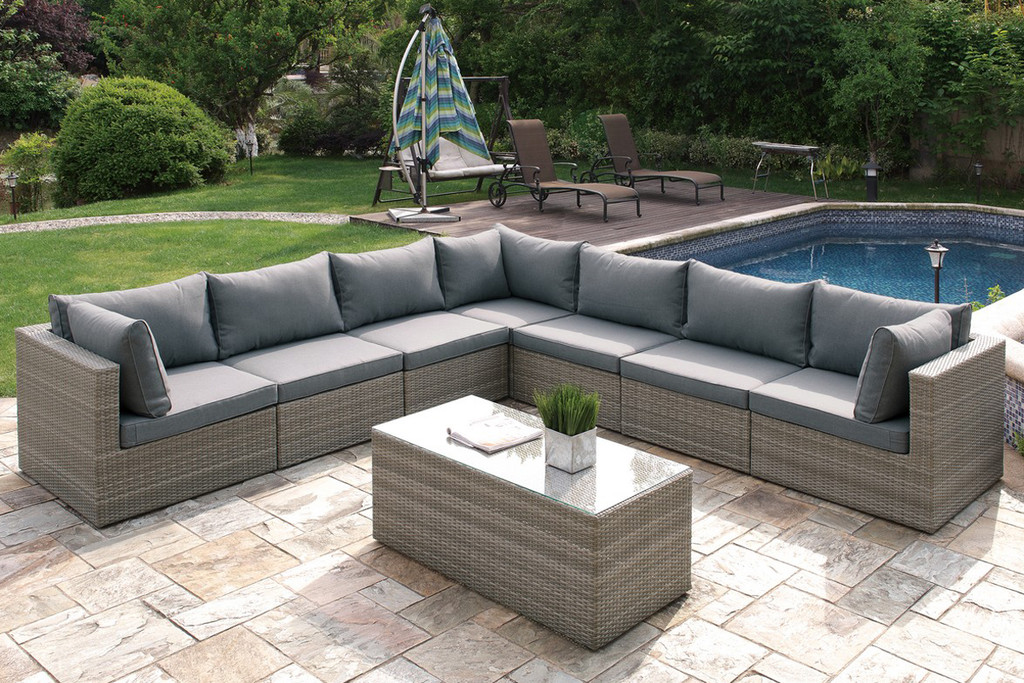 8PC OUTDOOR PATIO SOFA SET IN TAN RESIN WICKER FINISH AND GREY SEAT CUSHIONS
