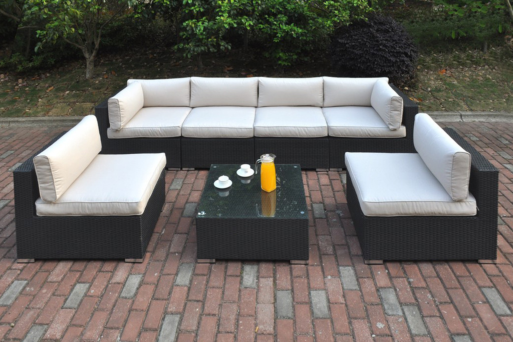 7PC OUTDOOR PATIO SOFA SET IN DARK BROWN RESIN WICKER AND CREAM SEAT CUSHIONS WITH COCKTAIL TABLE