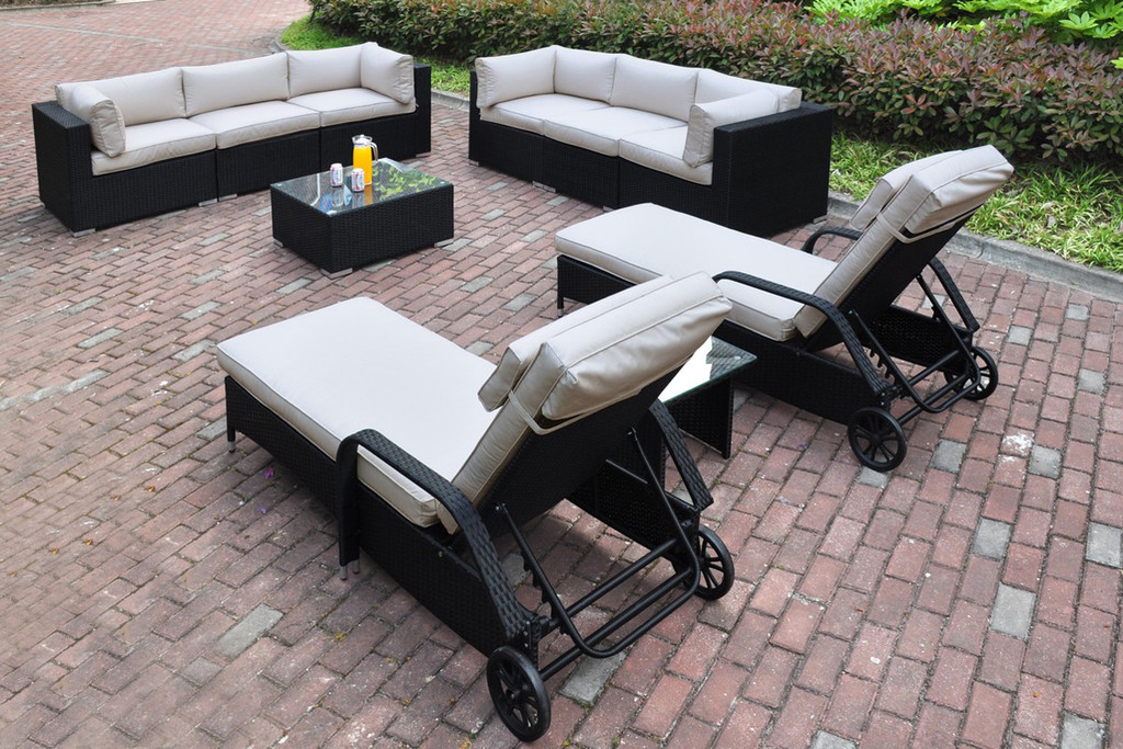10PC OUTDOOR PATIO SOFA LOUNGER SET DARK BROWN RESIN WALKER WITH CREAM CUSHIONS