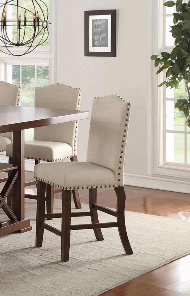 CHERRY PADDED SEATS COUNTER HEIGHT CHAIR 2 PCS SET-F1547