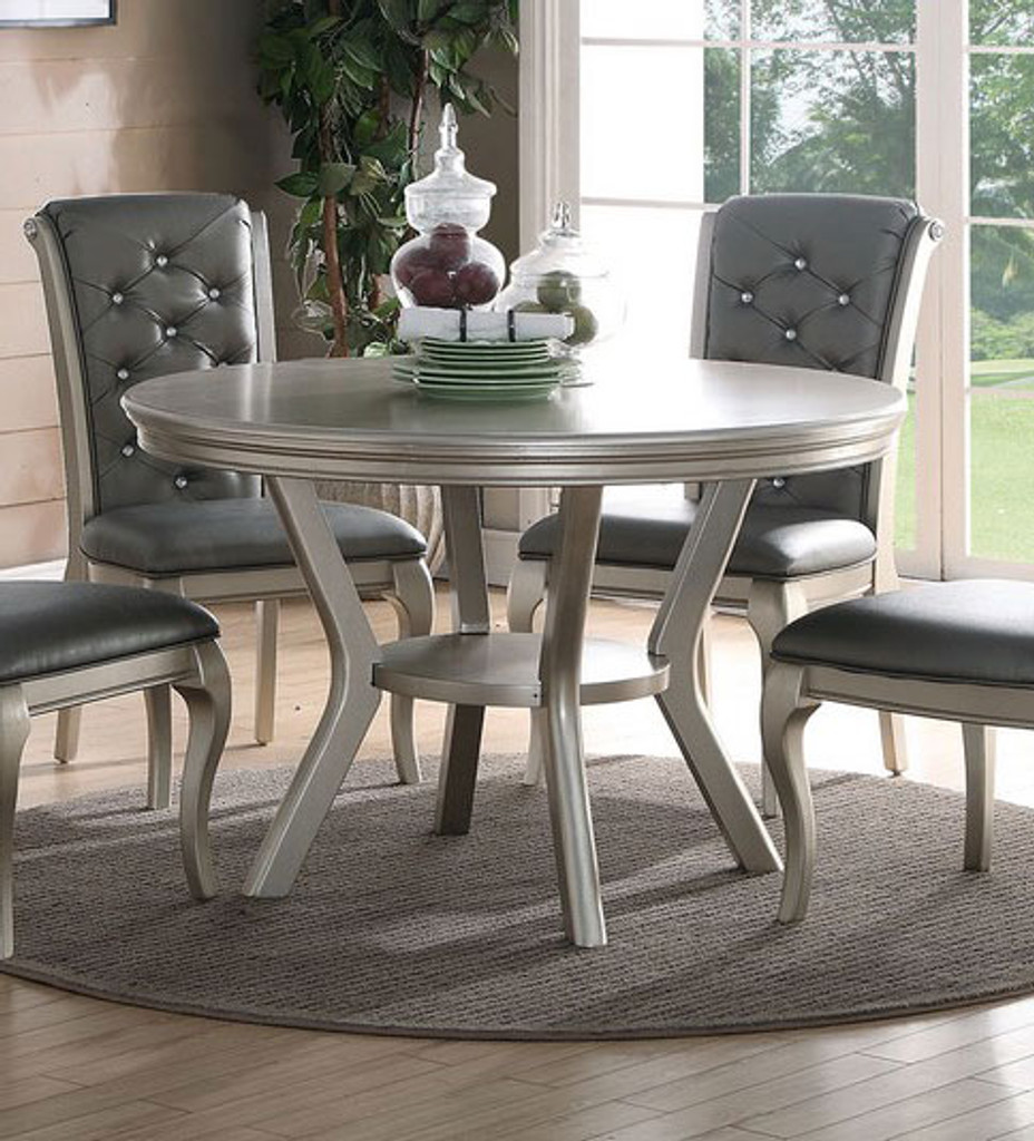 ANTIQUE SILVER LAVISH STYLE ROUND DINING TABLE-F2150