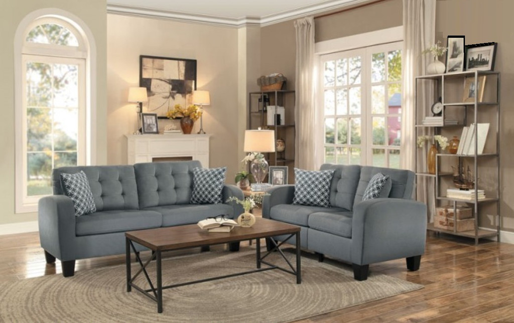 2PC SINCLAIR SOFA AND LOVESEAT IN GRAY