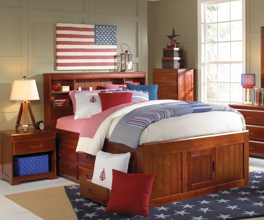 FULL BOOKCASE HEADBOARD CAPTAIN BED W/TRUNDLE + 3 DRAWERS-2821