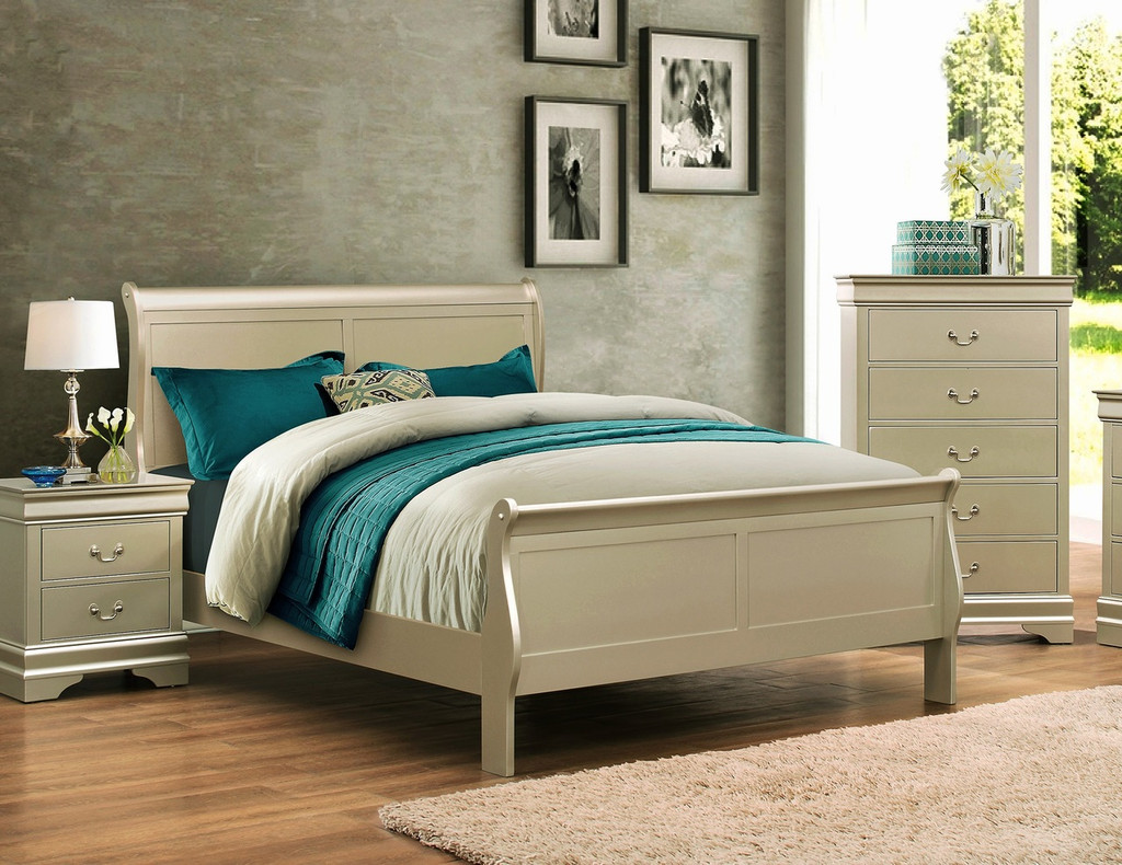 LP SLEIGH BED WITH MATTRESS AND BOXSPRING IN CHAMPAGNE