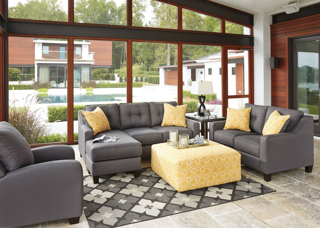 ALDIE NUVELLA GRAY COLLECTION SOFA CHAISE AND LOVE SEAT 2 PCS SET-68702-18-35