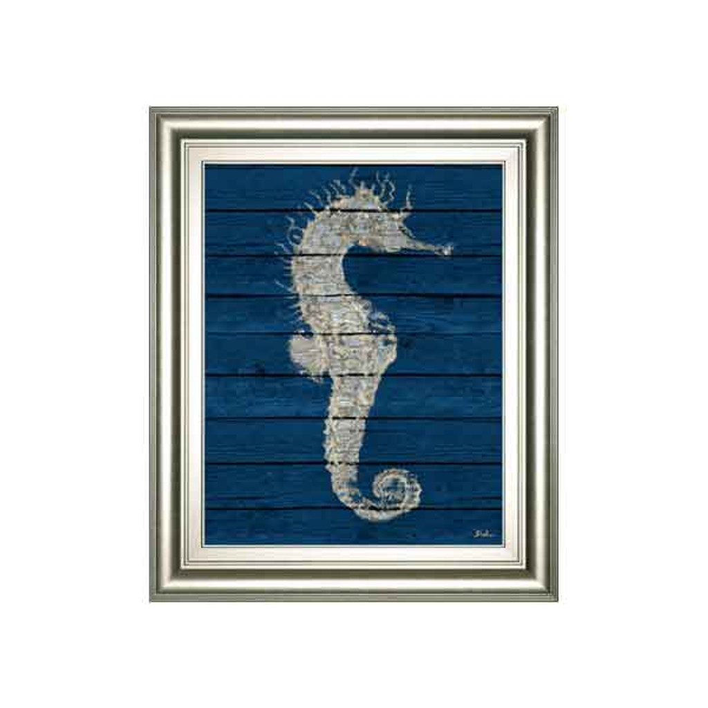ANTIQUE SEAHORSE ON BLUE I BY PATRICIA PINTO 22x26