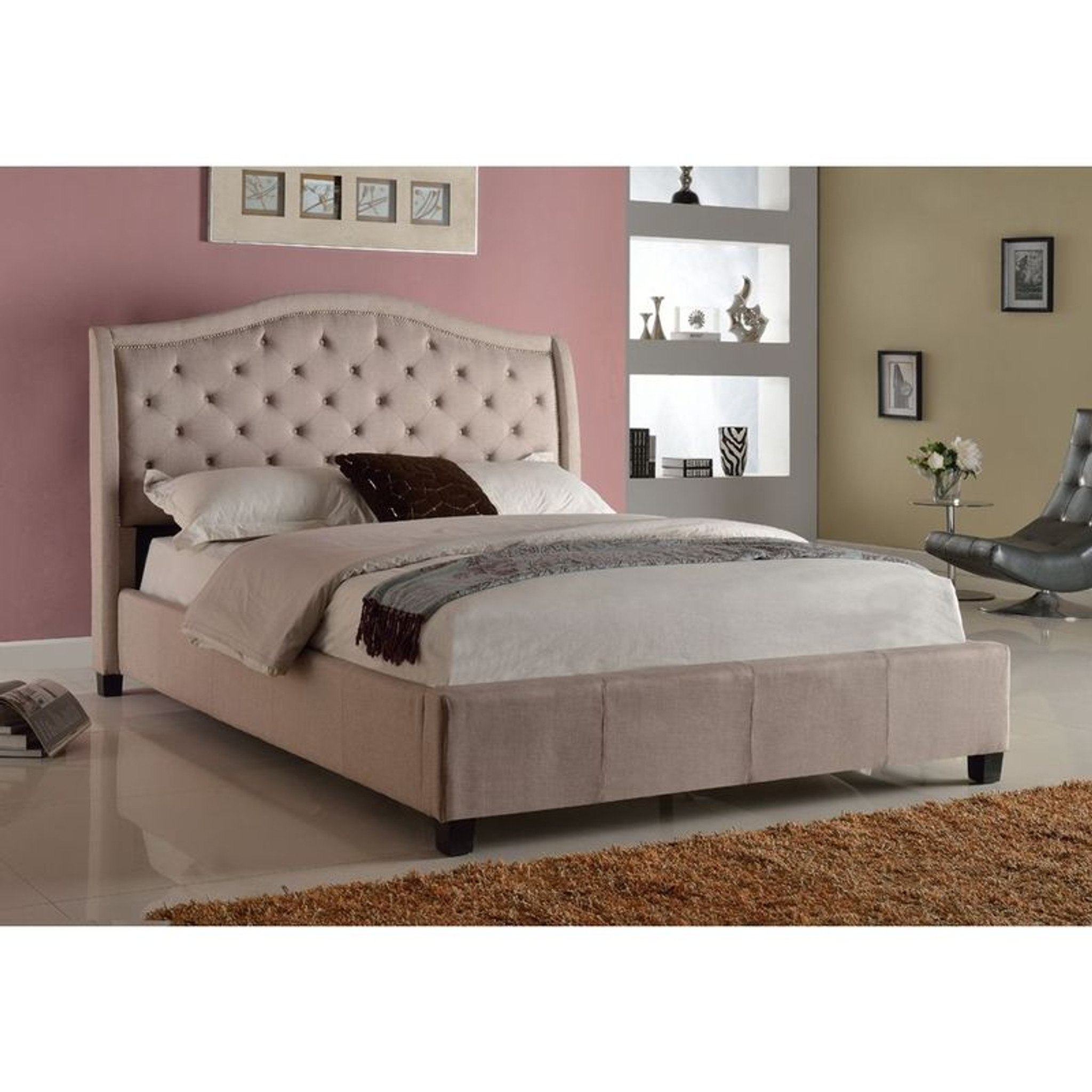 5262 Q Addison Upholstered Queen Bed With Tufted Headboard