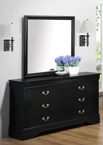 Louis Philip -  Black Dresser & Mirror