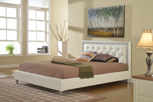 Florenza White Leather Tufted Platform Bed (No Boxspring Required)