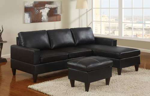 ALL-IN-ONE SECTIONAL IN BLACK BONDED LEATHER