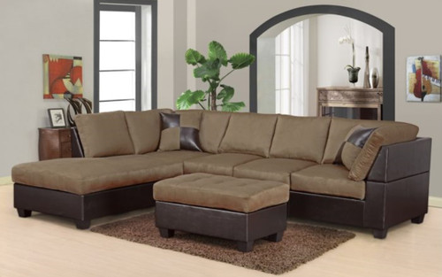 MODERN SADDLE 2 PCS SOFA AND CHAISE SECTIONAL SET