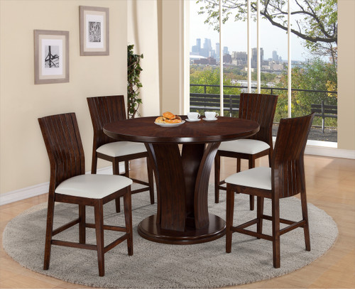 DARIA COUNTER HEIGHT ROUND DINING TABLE TOP (5PC SET)  WHITE